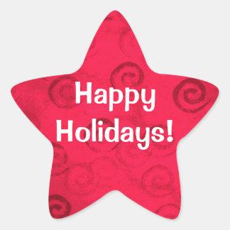 "Festive Red Spirals ""Happy Holidays"" Stickers"