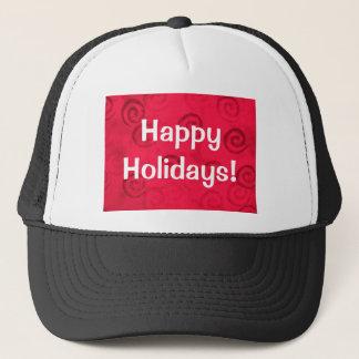"""Festive Red Spirals """"Happy Holidays"""" Trucker Hat"""