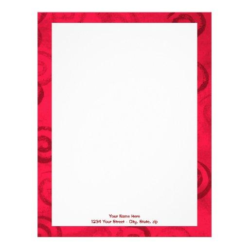 Festive Red Spirals Personalized Letterhead