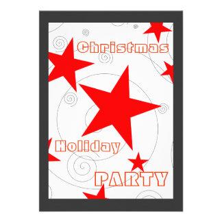 Festive Red Stars Swirls Modern Christmas Party Invites