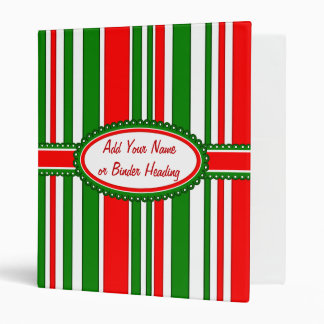 Festive Red, White and Green Stripes Pattern Binder