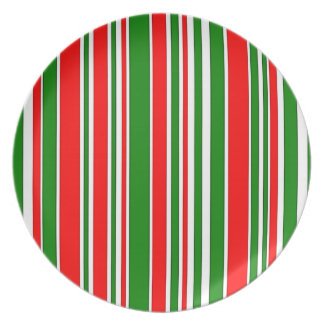 Festive Red, White and Green Stripes Pattern Melamine Plate
