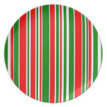 Festive Red, White and Green Stripes Pattern Plates
