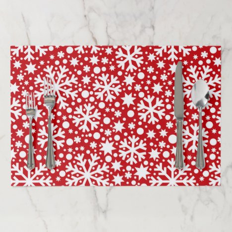 Festive red white Christmas snowflake pattern mats
