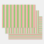[ Thumbnail: Festive Red, White, Green Christmas Style Lines Wrapping Paper Sheets ]
