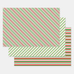 [ Thumbnail: Festive Red, White, Green Christmas Style Patterns Wrapping Paper Sheets ]