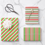 [ Thumbnail: Festive Red, White, Green Christmas Style Stripes Wrapping Paper Sheets ]