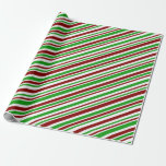 [ Thumbnail: Festive Red, White, Green Christmas-Themed Lines Wrapping Paper ]