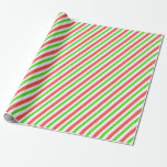 [ Thumbnail: Festive Red, White, Green Christmas Themed Stripes Wrapping Paper ]