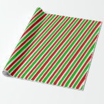 [ Thumbnail: Festive Red, White, Green Christmas-Themed Stripes Wrapping Paper ]