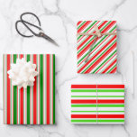 [ Thumbnail: Festive Red, White, Green Colored Lined Patterns Wrapping Paper Sheets ]