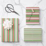 [ Thumbnail: Festive Red, White, Green Colored Stripes Patterns Wrapping Paper Sheets ]