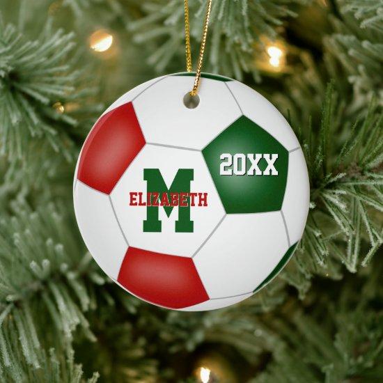 festive red white green girls boys keepsake soccer ceramic ornament