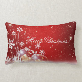 Festive Red & White Holiday Lumbar Pillow