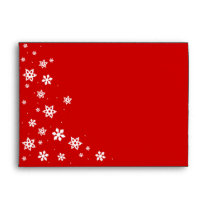 Festive Red & White Snowflake Holiday Envelope