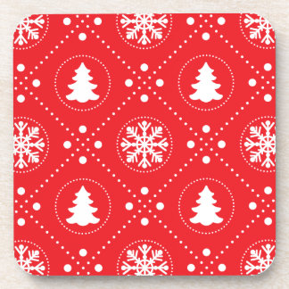 Festive Red White Winter Christmas Pattern Coaster
