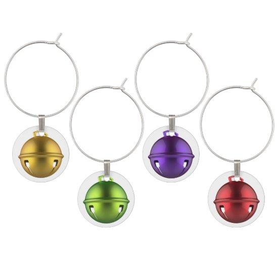 Festive Reindeer Bells Christmas Wine Charms