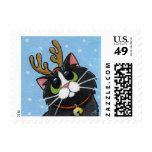 Festive Reindeer Cat Christmas Postage