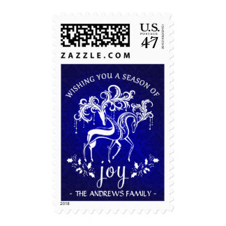 Festive Reindeer Holiday Joy - Personalized Stamp