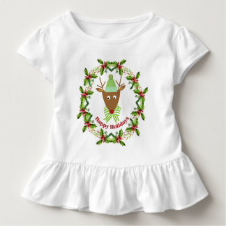 Festive Reindeer Watercolor Wreath Holiday Toddler T-shirt