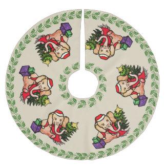 Festive Retro Merry Christmas Santa Elephants Brushed Polyester Tree Skirt