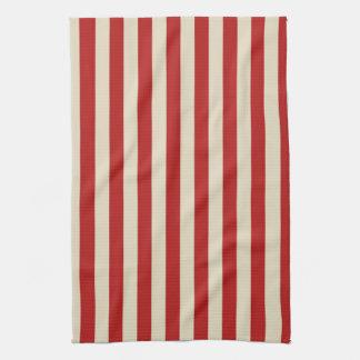 Festive Retro Vintage Vertical PopCorn Stripes Hand Towel