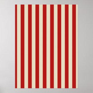 Festive Retro Vintage Vertical PopCorn Stripes Poster