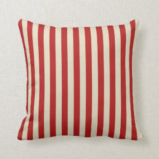 Festive Retro Vintage Vertical PopCorn Stripes Throw Pillow