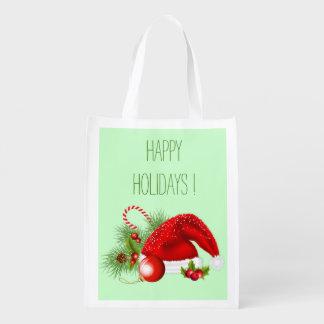 Festive Reusable Holiday Bag Market Totes