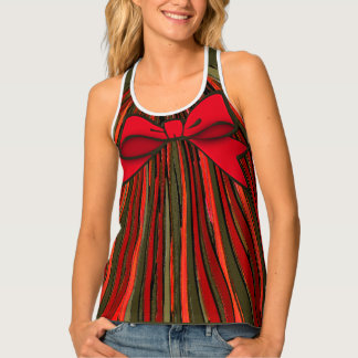 Festive Ribbon Stripe Wrapped With A Bow Tank Top