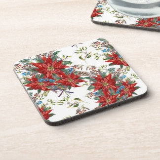 Festive Rich Red Poinsettia flower Coaster