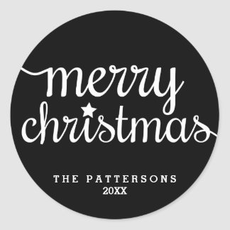 Festive Round Black White Merry Christmas Sticker