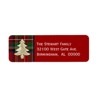 Festive Royal Stewart Plaid Christmas Labels at Zazzle