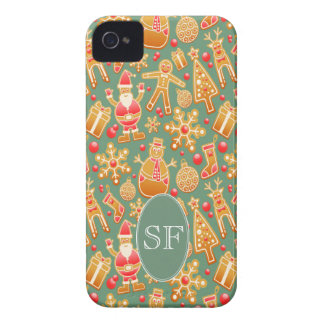 Festive Santa and Snowman Gingerbread Monogram iPhone 4 Case
