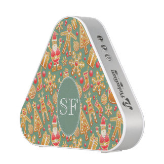 Festive Santa and Snowman Gingerbread Monogram Speaker