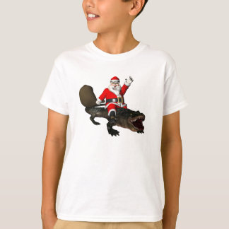 Festive Santa Claus Riding An Alligator T-Shirt
