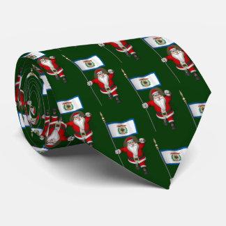 Festive Santa Claus With Ensign Of West Virginia Tie
