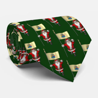 Festive Santa Claus With Flag Of New Jersey Tie