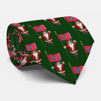 Festive Santa Claus With Flag Of Tennessee Neck Tie