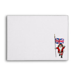 Festive Santa Claus With Flag Of The UK Envelope