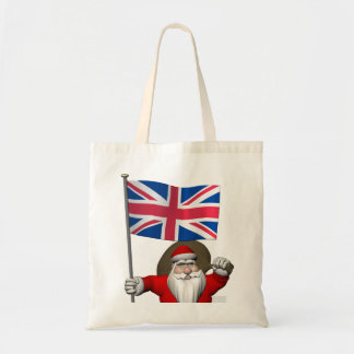 Festive Santa Claus With Flag Of The UK Tote Bag