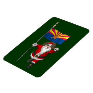 Festive Santa With Ensign Of Arizona Magnet