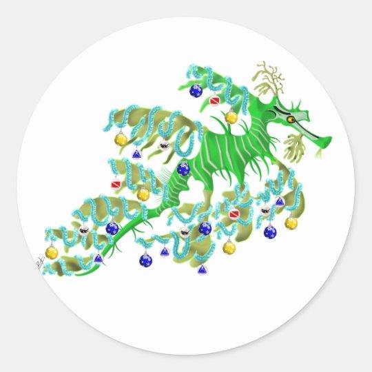 Festive Sea Dragon Classic Round Sticker