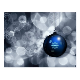 festive silver and blue Holiday Corporate PostCard