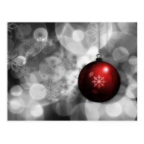 festive silver and red Holiday Corporate PostCard