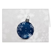 festive silver blue ornament Holiday greetings Card