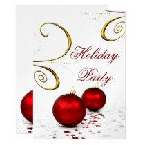 festive silver Holiday Party Invitations
