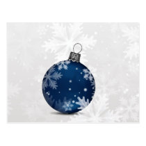 festive silver navy Holiday Corporate PostCard