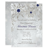 Festive Silver Navy Holiday party Invite