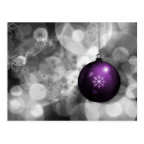 festive silver purple ornament Holiday cards